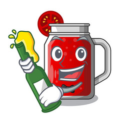 with beer fresh tomato juice isolated on mascot vector image
