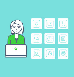 woman smart female with isolated icons set vector image
