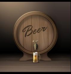 Wooden beer barrel vector