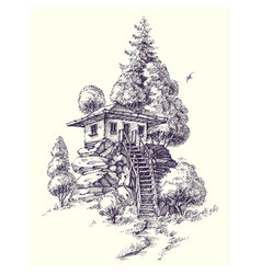 Wooden house lodge or cabin on a hill vector