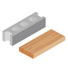 wooden timber plank and cement block vector image