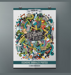 cartoon hand drawn doodles medical poster template vector image