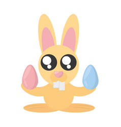Cute bunny with easter eggs vector