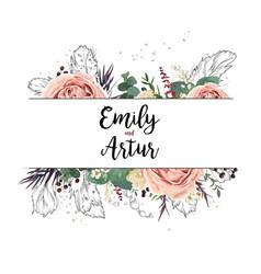 floral design card boho art wedding watercolor vector image