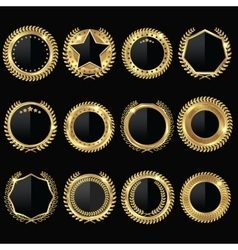 Golden Medal Black Label Set vector image vector image