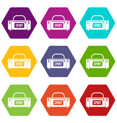 large sports bag icon set color hexahedron vector image vector image