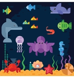 Ocean underwater life sea animals vector image vector image