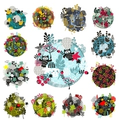 Set of creative round with flora and vector image