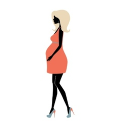 Silhouette of fashionable pregnant woman vector image vector image