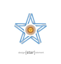 star with Argentinian flag colors and symbols vector image vector image