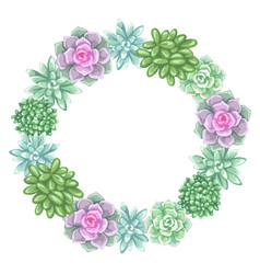 wreath with succulents echeveria jade plant and vector image vector image