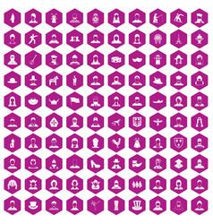 100 folk icons hexagon violet vector image