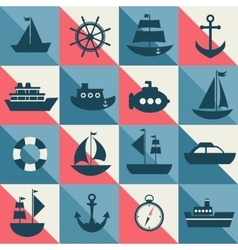 Blue and red background with sea transport vector image vector image