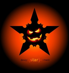 Halloween star with flying bats and smile pumpkin vector image
