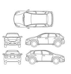 offroad suv auto outline vehicle vector image vector image