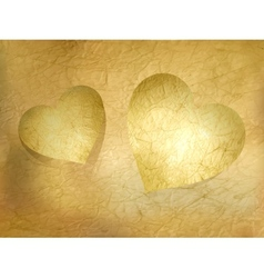 Two paper hearts over sheet EPS 10 vector image vector image