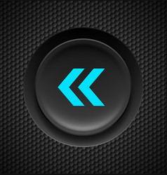 black and blue fast backward button on carbon vector image vector image