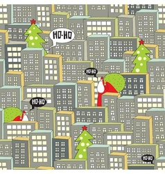 Christmas city seamless pattern vector image vector image