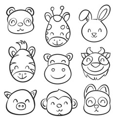 cute animal hand draw doodle collection vector image vector image