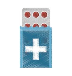 drawing medical pills pharmacy vector image