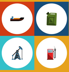 flat icon petrol set of petrol fuel canister vector image vector image