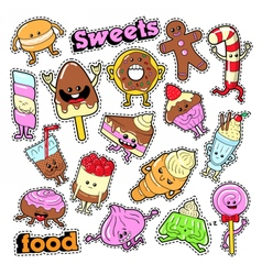 Funny Dessert Characters Facial Emoji for Badges vector image vector image