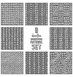 set of various doodles stitch patterns vector image vector image