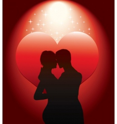 sexy couple silhouette with re vector image