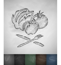 vegetables and fruits icon Hand drawn vector image vector image