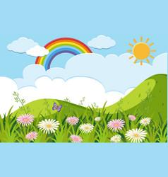 background scene with flowers in garden vector image