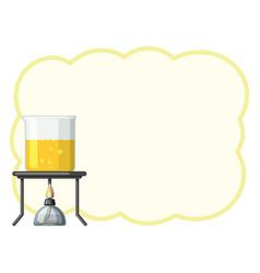 border template with yellow liquid in beaker vector image vector image