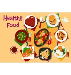 Healthy breakfast dishes icon for festive menu vector