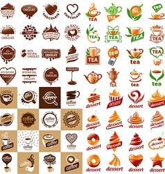 large set of logos hot drinks and desserts vector image