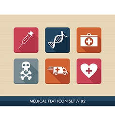 Medical health flat icons set vector image vector image