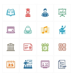 School and Education Icons Set 2 - Colored Series vector image vector image