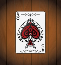 Ace of spades poker cards varnished wood vector image