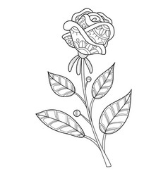 Adult coloring bookpage a cute rose vector