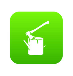 axe stuck in a tree stump icon digital green vector image
