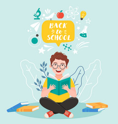 back to school banner iittle boy reading book vector image