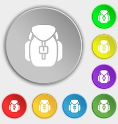 Backpack icon sign Symbol on eight flat buttons vector