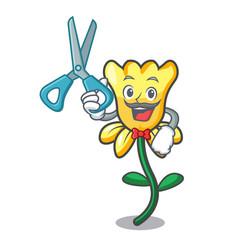 barber daffodil flower character cartoon vector image