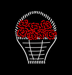 basket with roses sign 411 vector image