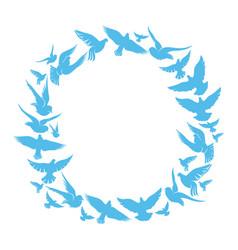 blue round frame flying doves vector image
