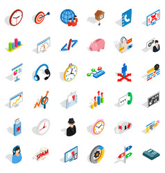 Bookkeeping service icons set isometric style vector