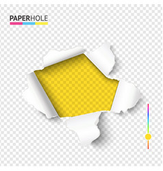 Bright tear off paper hole banner with torn vector