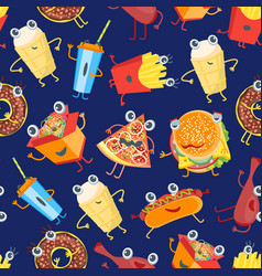 cartoon color fast food characters background vector image