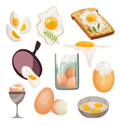 cartoon eggs isolated on white background set vector image