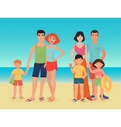 Cartoon family couple with kids on the sea vector image