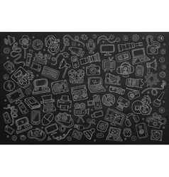 Chalkboard hand drawn Doodle set equipment vector image