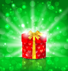 Christmas round gift box on light background vector image